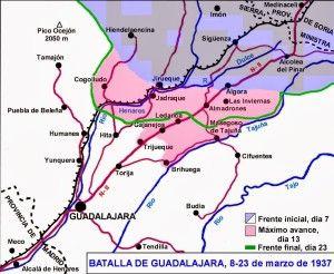 Mapa batalla de Guadalajara 8 al 23 marzo 1937