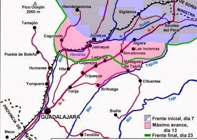 Mapa batalla de Guadalajara. 8 al 23 de Marzo 1937