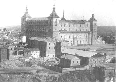 Vista del Alcázar de Toledo antes del asedio