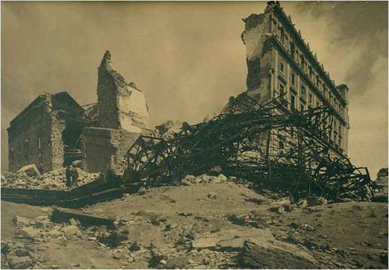 Alcazar fachada SO despues-Asedio Alcazar de Toledo