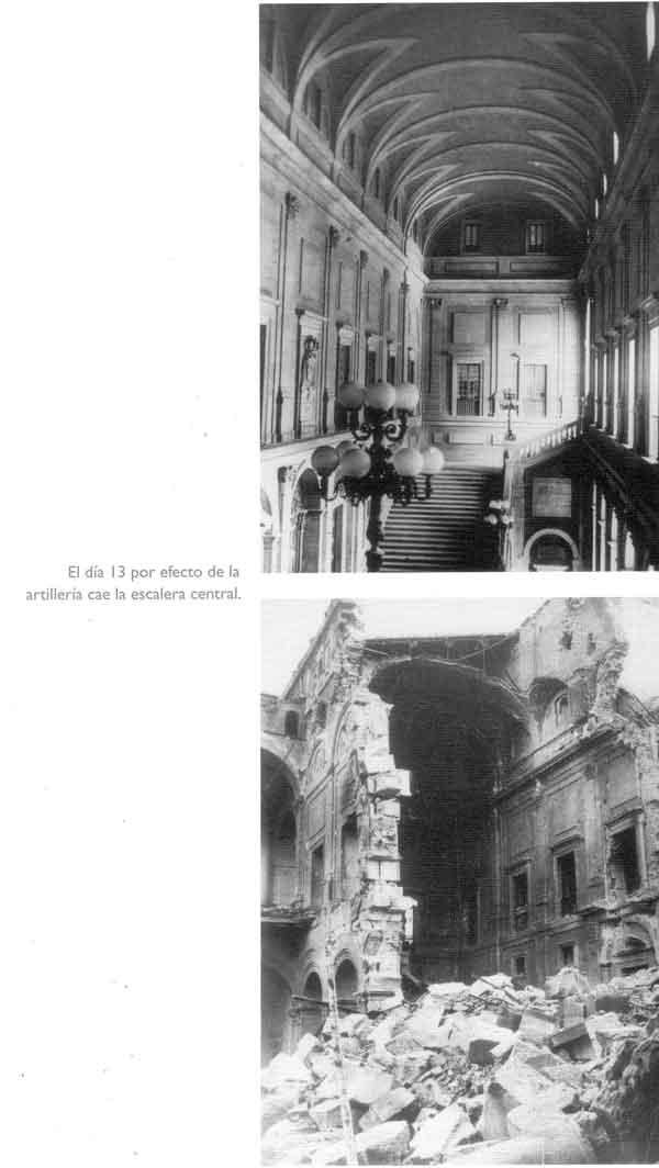 Escalera principal del Alcázar de Toledo después del asedio