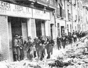 Evacuacion heridos republicanos santa fe-Asedio Alcazar de Toledo