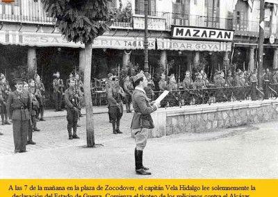 Lectura del bando guerra en Zocodover. 22 de julio de 1936. 7:00 am