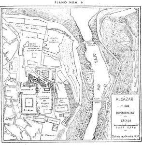 Plano dependencias del Alcázar de Toledo