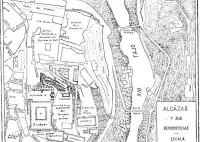 Plano de las dependencias del Alcázar de Toledo