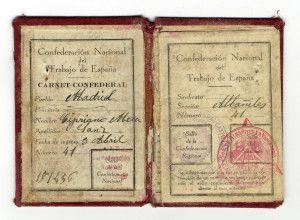 Carnet de la CNT de Cirpiano Mera