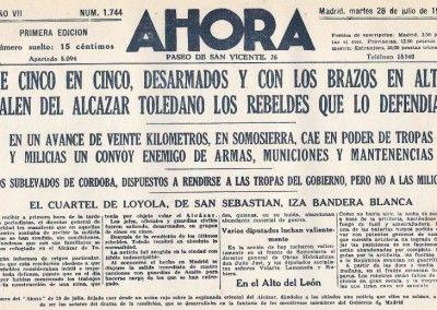 Información falsa publicada por AHORA de la caída del Alcázar