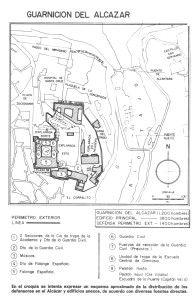 Distribución de la guarnición del Alcázar, tanto en el perímetro interior como el exterior