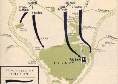 Movimientos de las columnas nacionales. La toma de Toledo