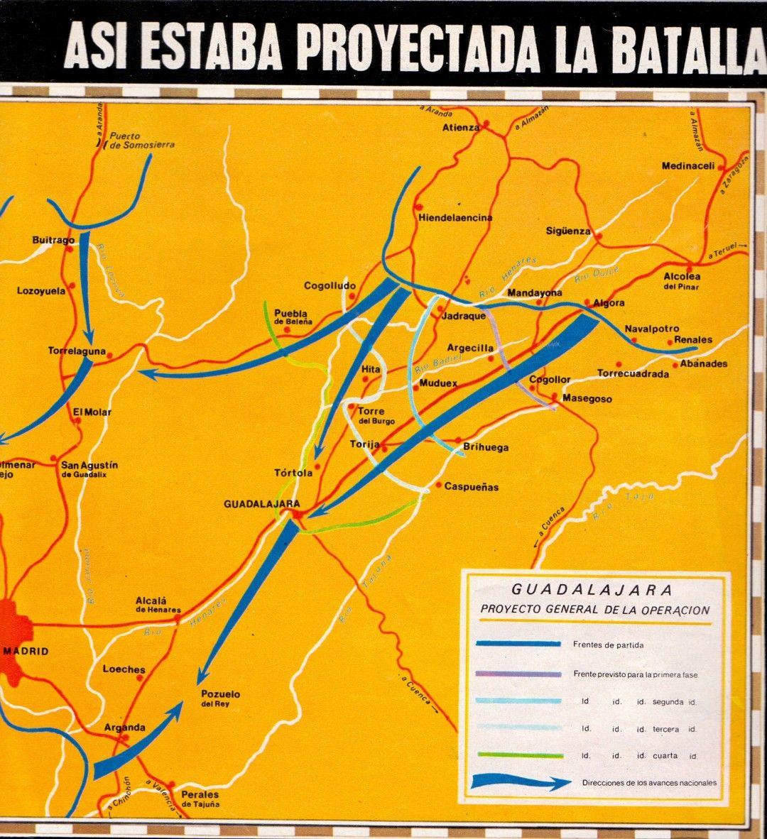 Así estaba proyectada la Ofensiva de Guadalajara