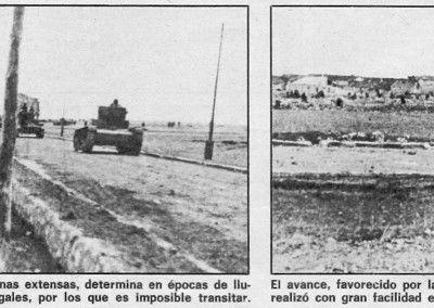 Tanques T26 avanzando por la carretera general de Zaragoza