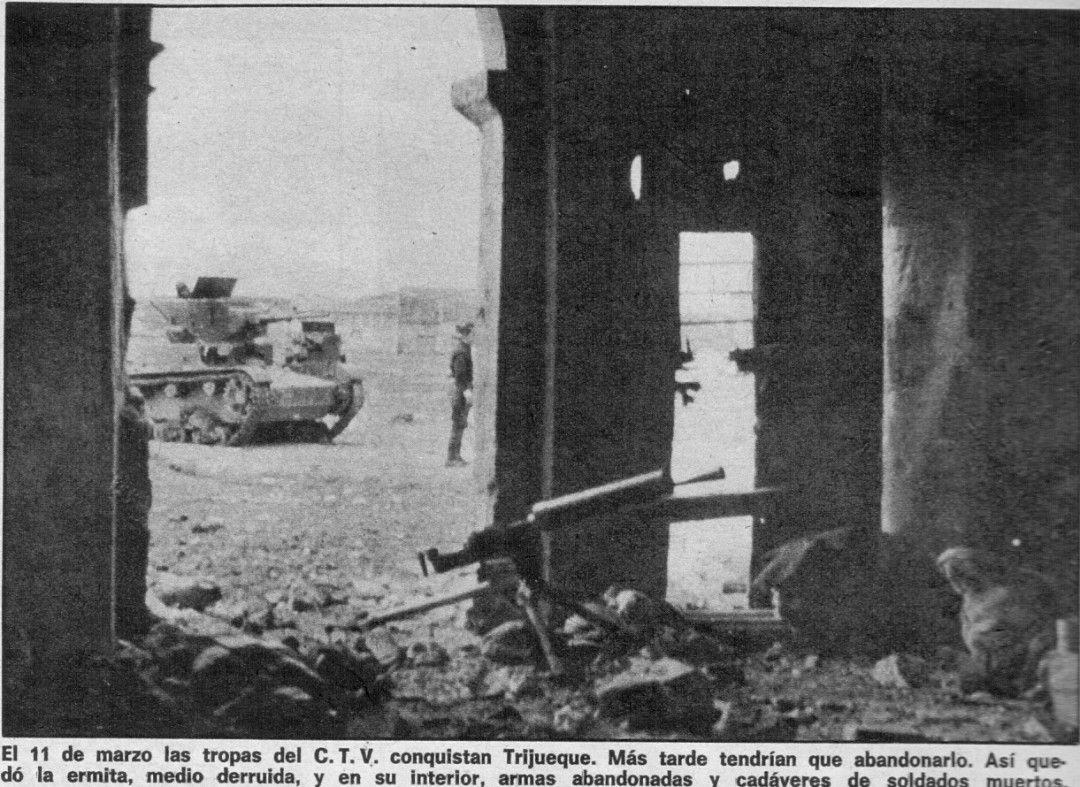 Interior de la ermita de Trijueque después de los combates