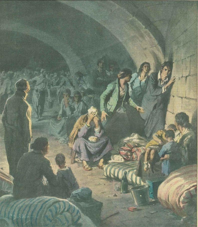 Mujeres escuchando la mina desde los sótanos del Alcázar