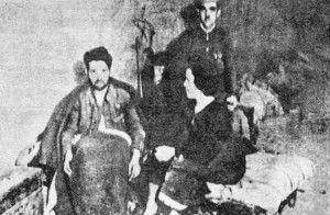 Guardia Civil herido cuidado por su mujer. Sótanos del Alcázar
