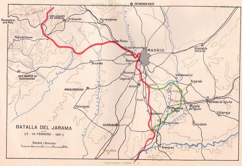 Mapa de la Batalla del Jarama. Lojendio