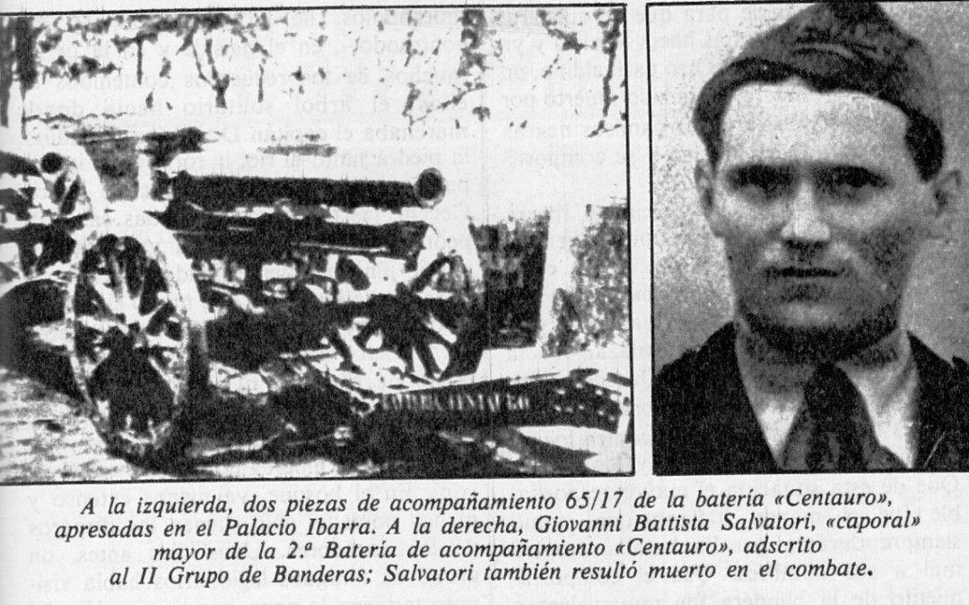 Piezas artilleras y caporal Salvatori, muerto en combate