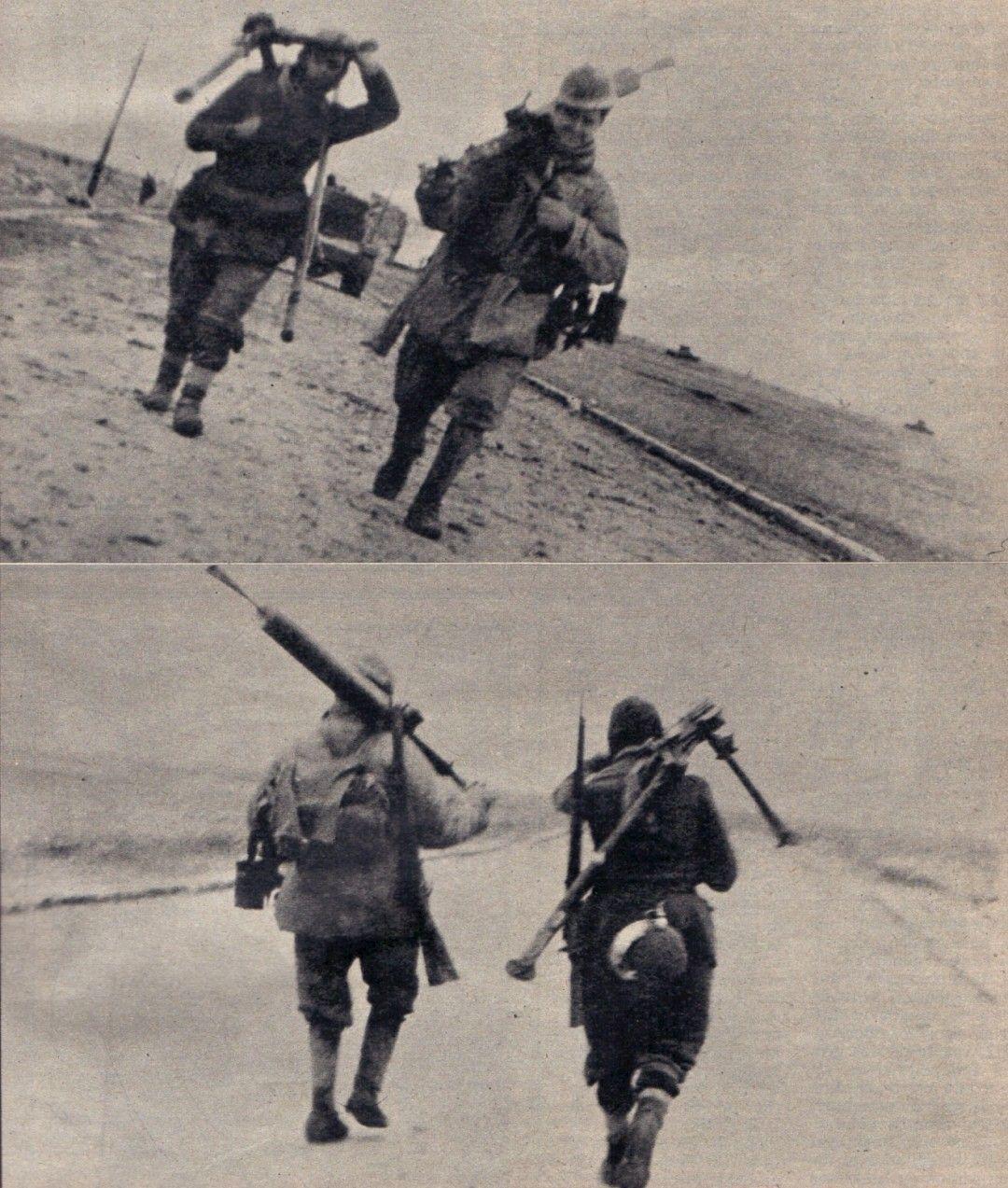 soldados caminando por la ctra gral de Zaragoza