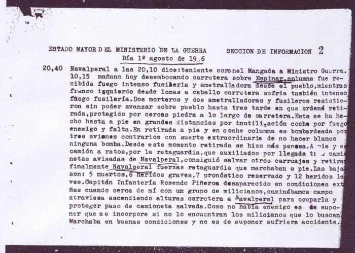 Parte Teniente Coronel Mangada 1/8/1936